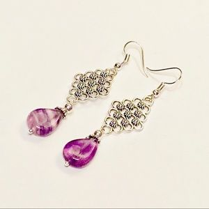 Fluorite Teardrop Earrings